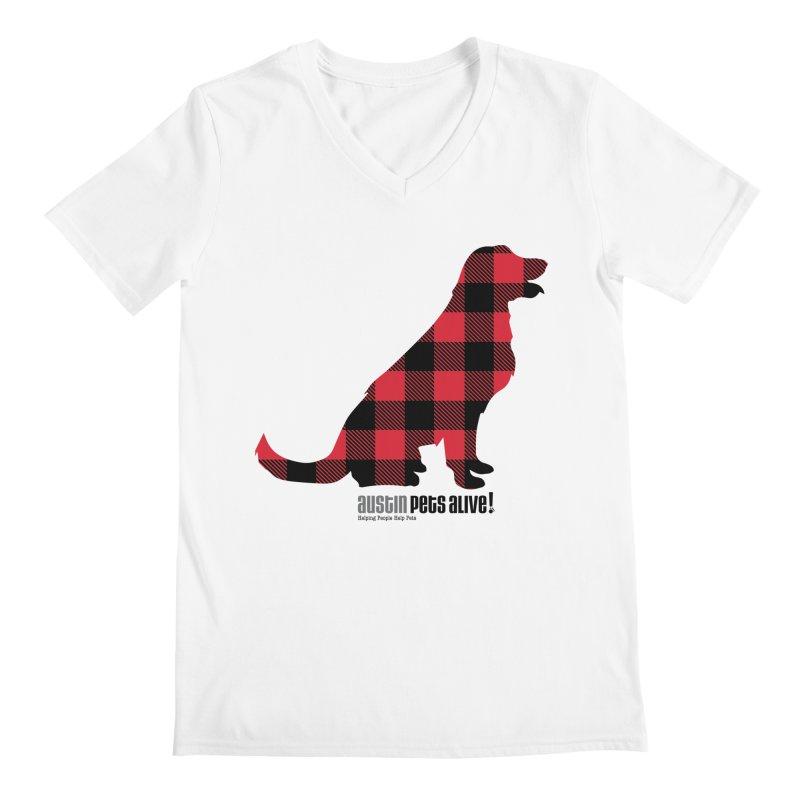 Dog in Plaid Men's Regular V-Neck by austinpetsalive's Artist Shop