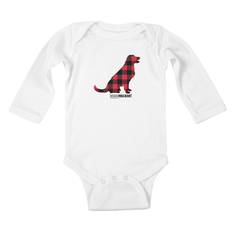 Dog in Plaid Kids Baby Longsleeve Bodysuit by austinpetsalive's Artist Shop