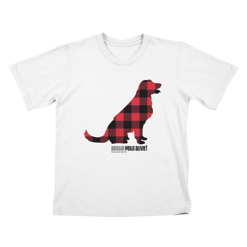 Dog in Plaid Kids T-Shirt by austinpetsalive's Artist Shop