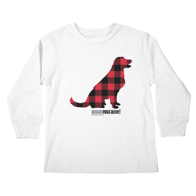 Dog in Plaid Kids Longsleeve T-Shirt by austinpetsalive's Artist Shop
