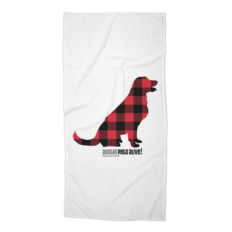 Dog in Plaid Accessories Beach Towel by austinpetsalive's Artist Shop