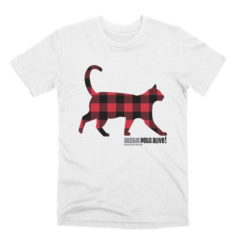 Cat in Plaid Men's Premium T-Shirt by austinpetsalive's Artist Shop