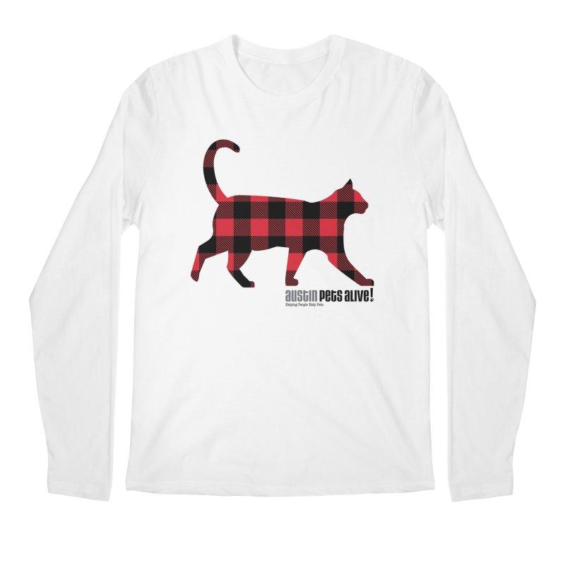 Cat in Plaid Men's Regular Longsleeve T-Shirt by austinpetsalive's Artist Shop