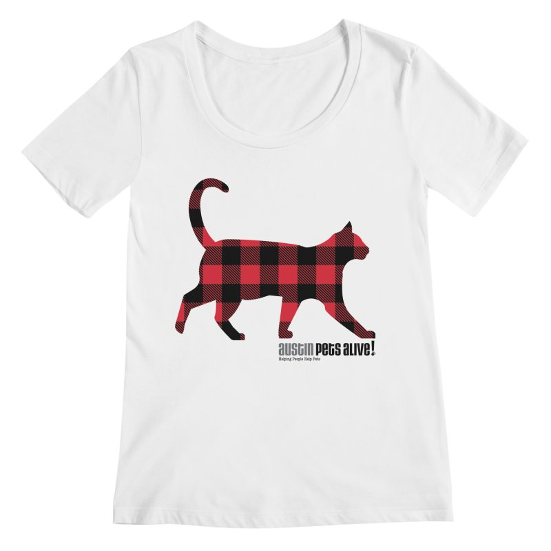 Cat in Plaid Women's Regular Scoop Neck by austinpetsalive's Artist Shop