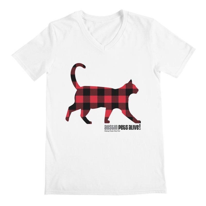 Cat in Plaid Men's Regular V-Neck by austinpetsalive's Artist Shop
