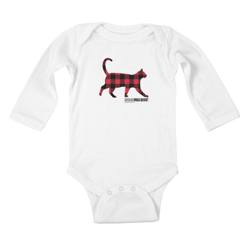 Cat in Plaid Kids Baby Longsleeve Bodysuit by austinpetsalive's Artist Shop