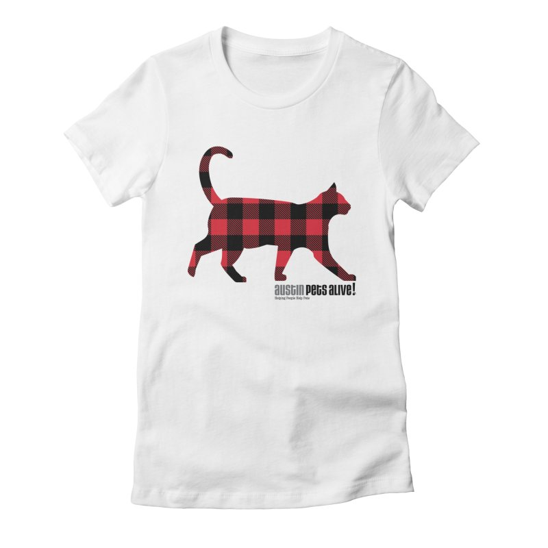 Cat in Plaid Women's Fitted T-Shirt by austinpetsalive's Artist Shop
