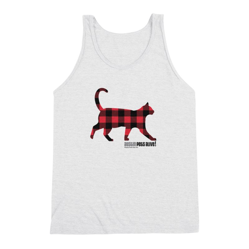 Cat in Plaid Men's Triblend Tank by austinpetsalive's Artist Shop