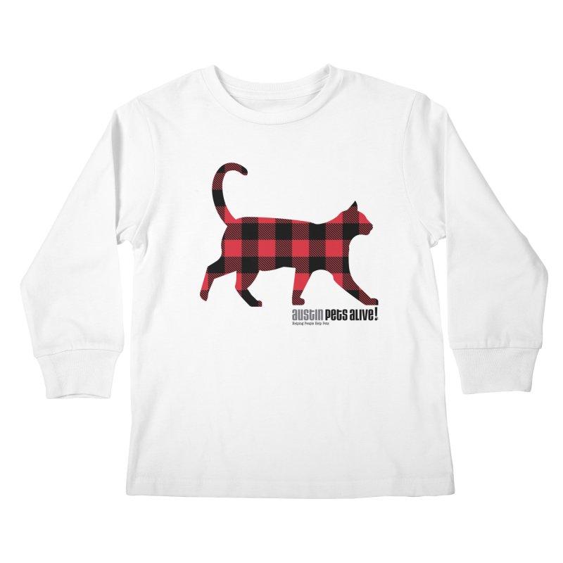 Cat in Plaid Kids Longsleeve T-Shirt by austinpetsalive's Artist Shop