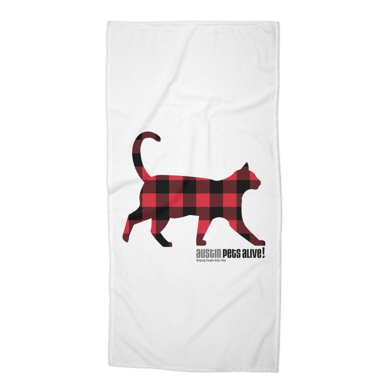 Cat in Plaid Accessories Beach Towel by austinpetsalive's Artist Shop