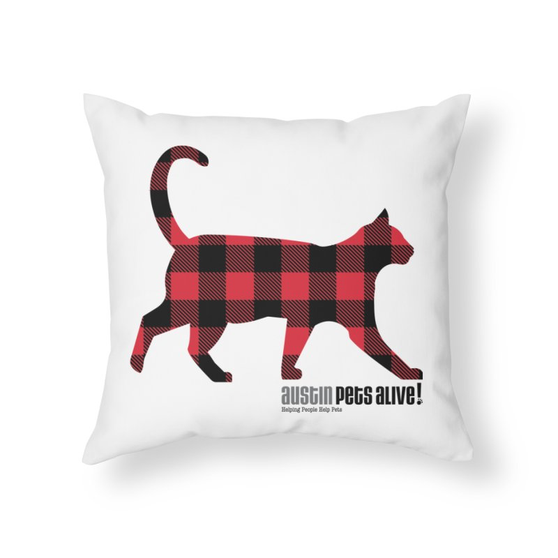 Cat in Plaid Home Throw Pillow by austinpetsalive's Artist Shop