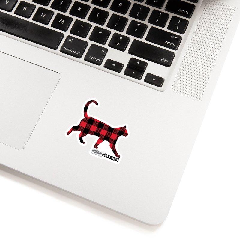 Cat in Plaid Accessories Sticker by austinpetsalive's Artist Shop