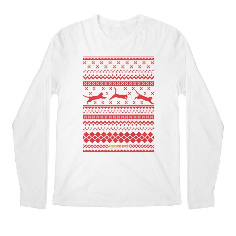 Festive Cats Men's Regular Longsleeve T-Shirt by austinpetsalive's Artist Shop