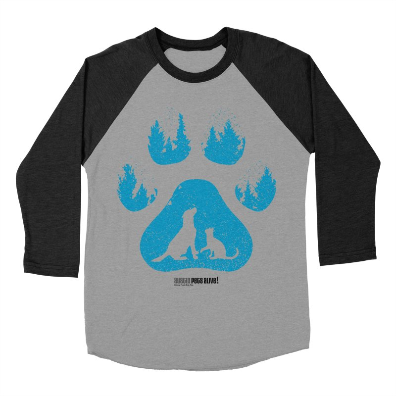 Forest Paw Men's Baseball Triblend Longsleeve T-Shirt by Austin Pets Alive's Artist Shop