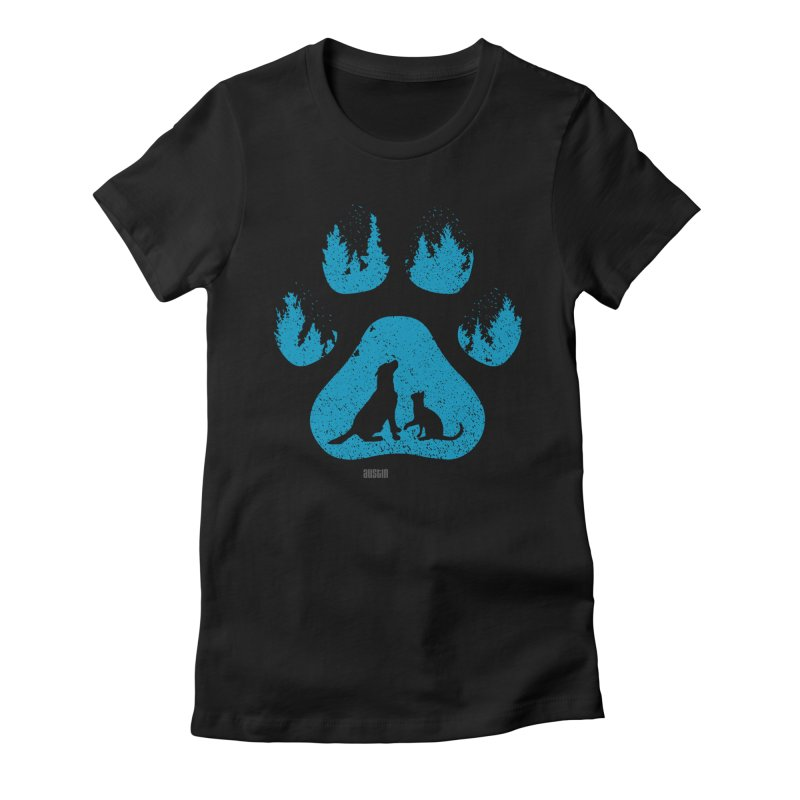 Forest Paw Women's Fitted T-Shirt by Austin Pets Alive's Artist Shop