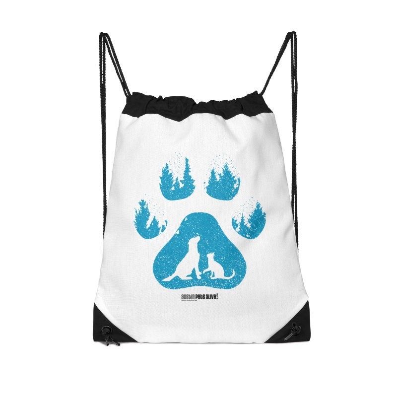 Forest Paw Accessories Drawstring Bag Bag by Austin Pets Alive's Artist Shop