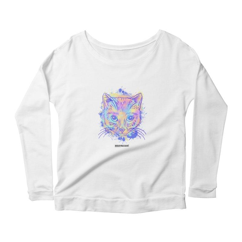 Groovy Cat Women's Scoop Neck Longsleeve T-Shirt by Austin Pets Alive's Artist Shop