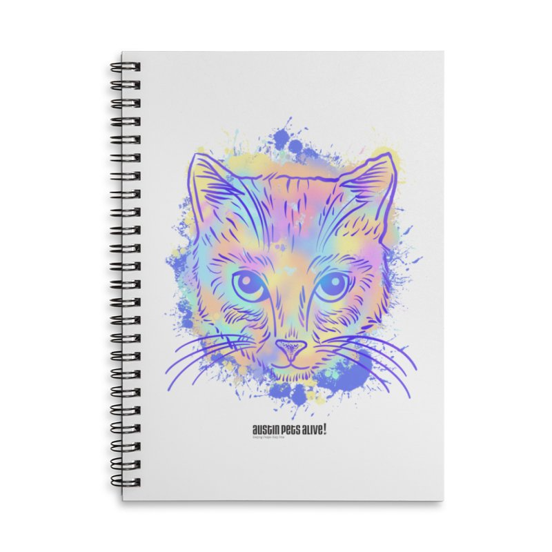 Groovy Cat Accessories Lined Spiral Notebook by Austin Pets Alive's Artist Shop