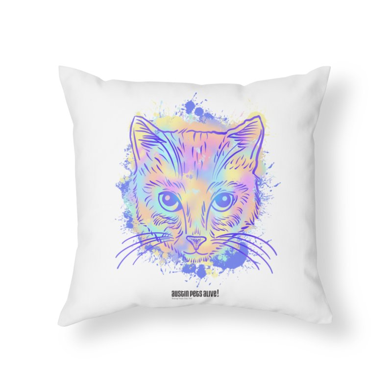 Groovy Cat Home Throw Pillow by Austin Pets Alive's Artist Shop