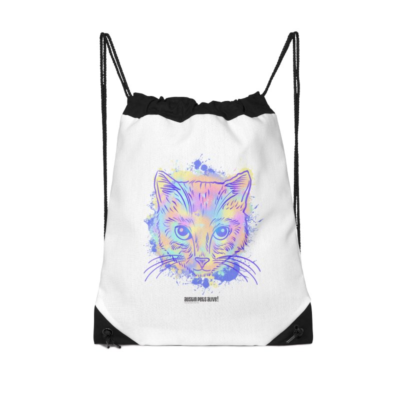 Groovy Cat Accessories Drawstring Bag Bag by Austin Pets Alive's Artist Shop