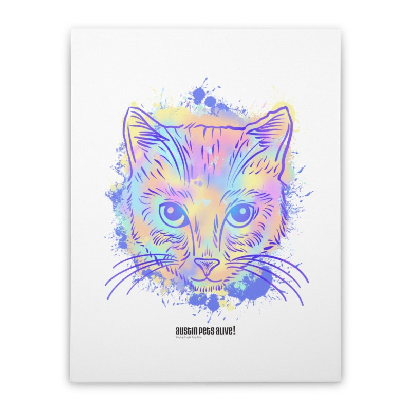 Groovy Cat Home Stretched Canvas by Austin Pets Alive's Artist Shop