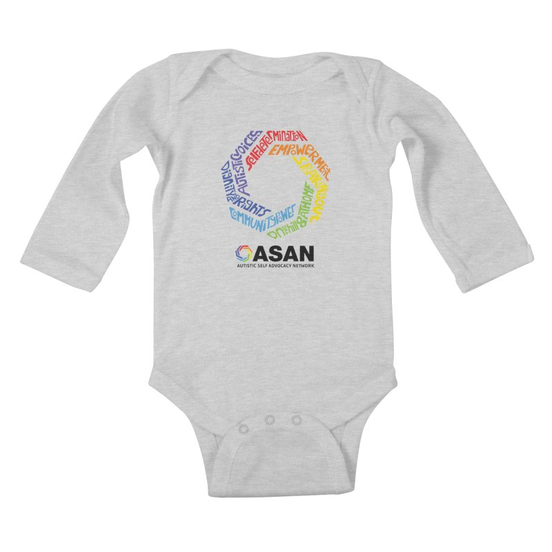 Typographic Logo Kids Baby Longsleeve Bodysuit by Autistic Self Advocacy Network Shop