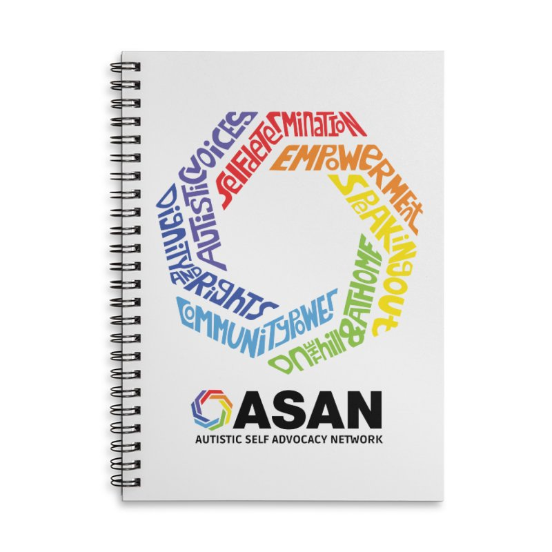 Typographic Logo Accessories Lined Spiral Notebook by Autistic Self Advocacy Network Shop