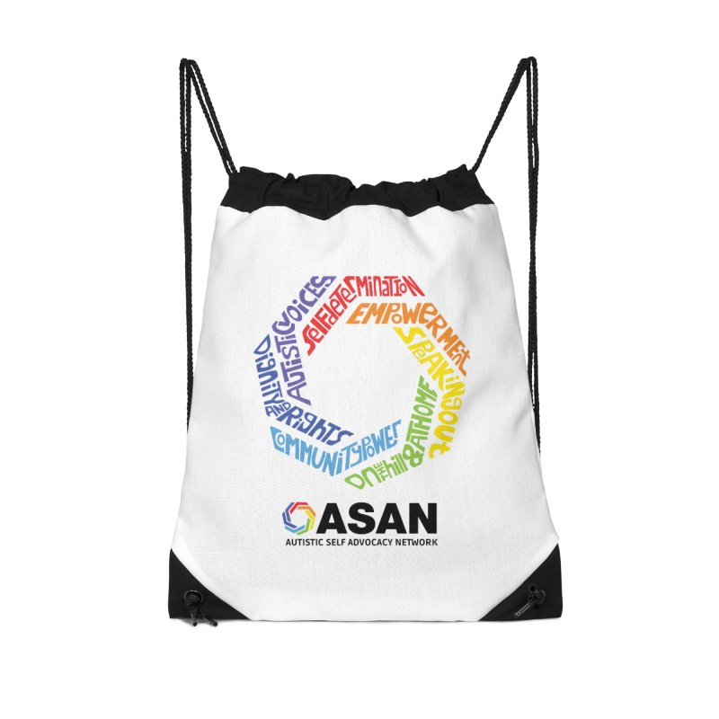 Typographic Logo Accessories Drawstring Bag Bag by Autistic Self Advocacy Network Shop
