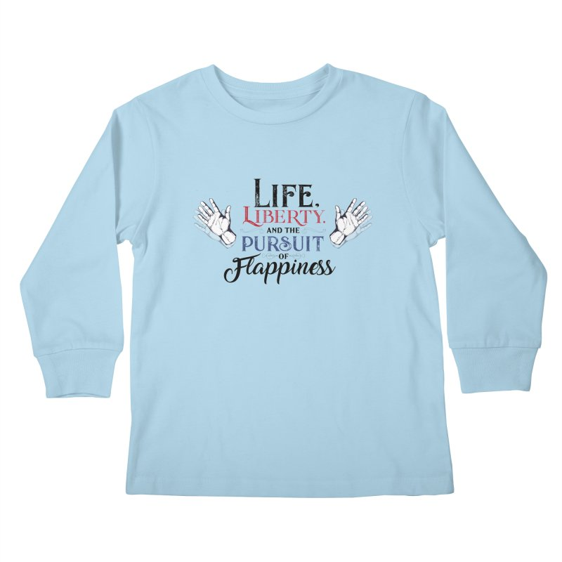 Pursuit of Flappiness Kids Longsleeve T-Shirt by Autistic Self Advocacy Network Shop