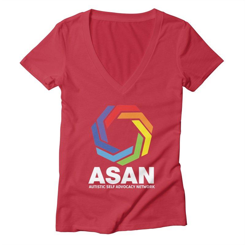 Vertical Logo (Dark) Women's Deep V-Neck V-Neck by Autistic Self Advocacy Network Shop