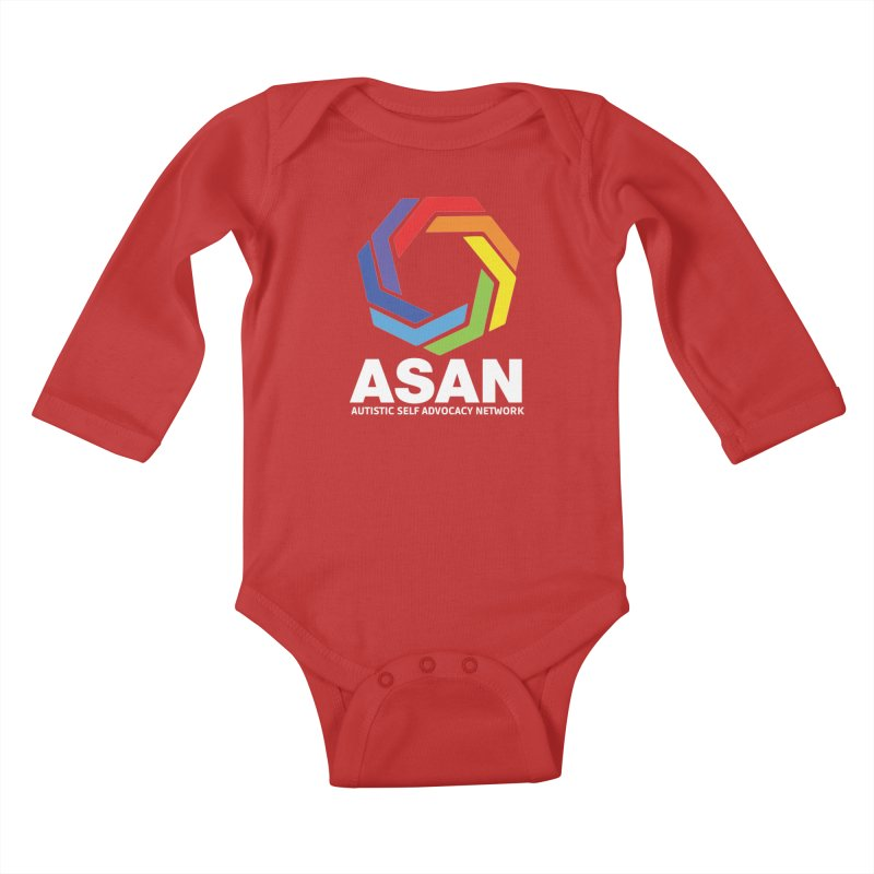 Vertical Logo (Dark) Kids Baby Longsleeve Bodysuit by Autistic Self Advocacy Network Shop
