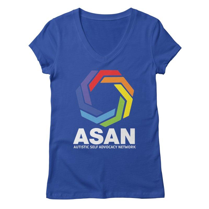 Vertical Logo (Dark) Women's Regular V-Neck by Autistic Self Advocacy Network Shop
