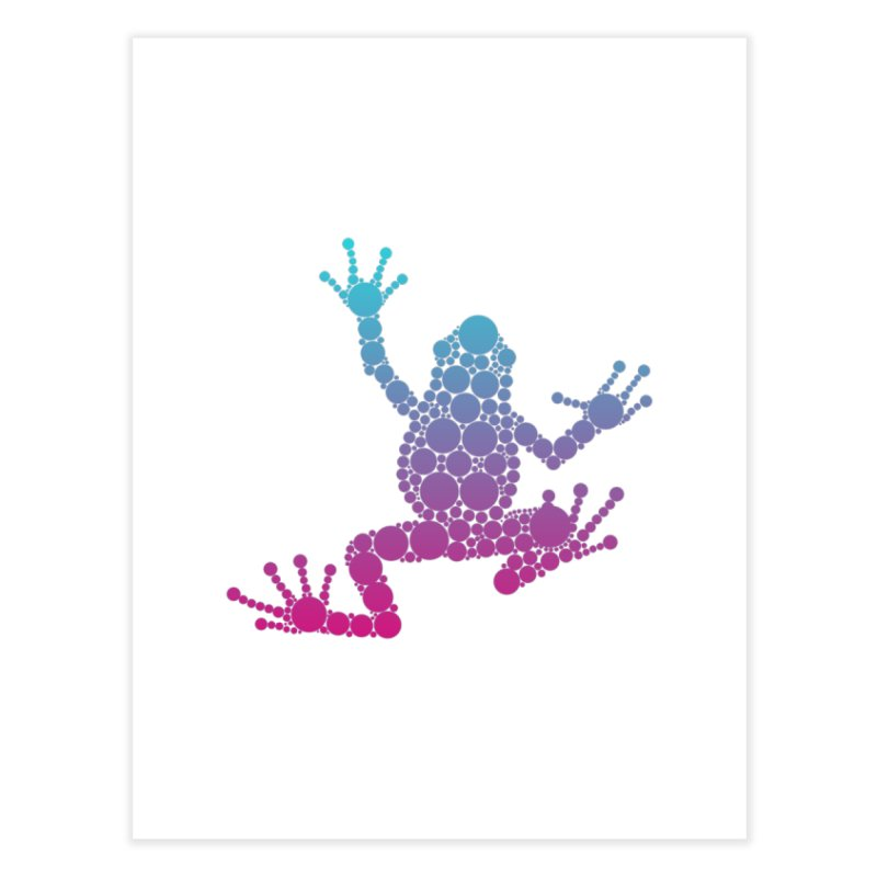 Spots the Frog (neon) Home Fine Art Print by Avadel Designs