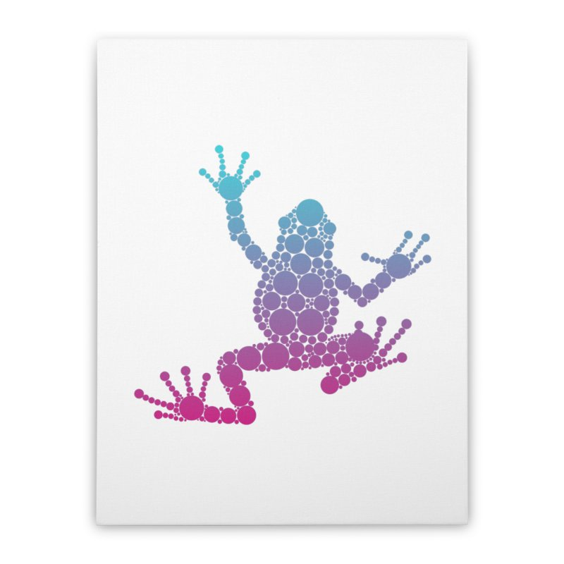 Spots the Frog (neon) Home Stretched Canvas by Avadel Designs