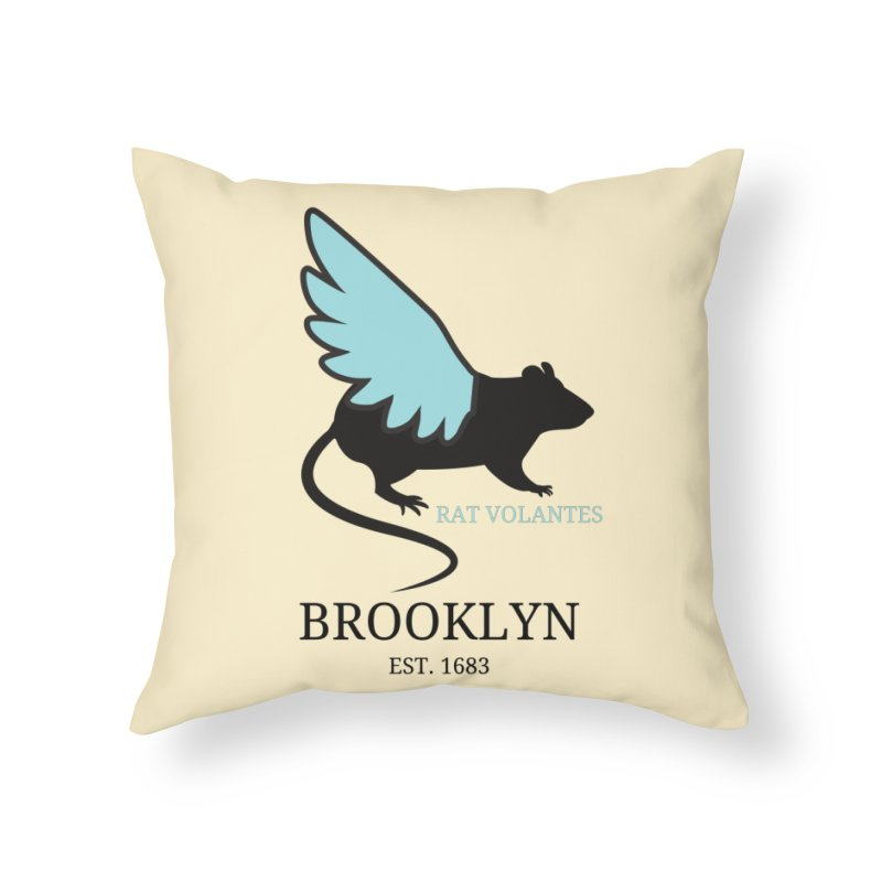 Flying Rat: Brooklyn Home Throw Pillow by avian30