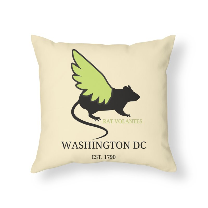 Flying Rat: Washington DC Home Throw Pillow by avian30