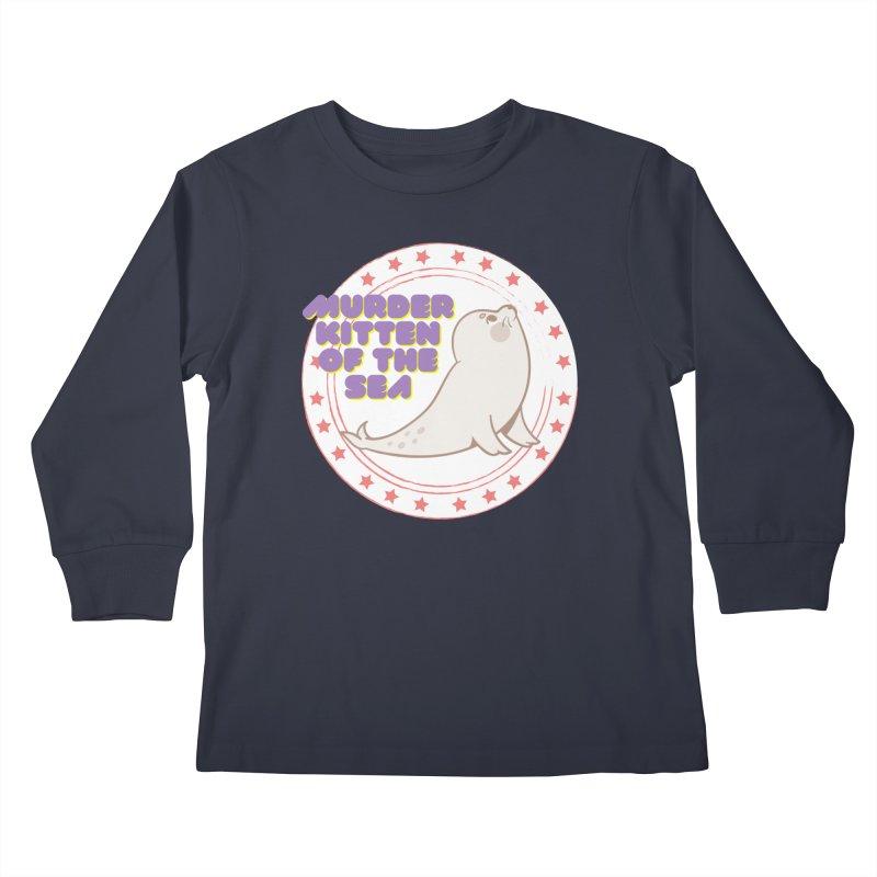 Murder Kitten of the Sea Kids Longsleeve T-Shirt by avian30