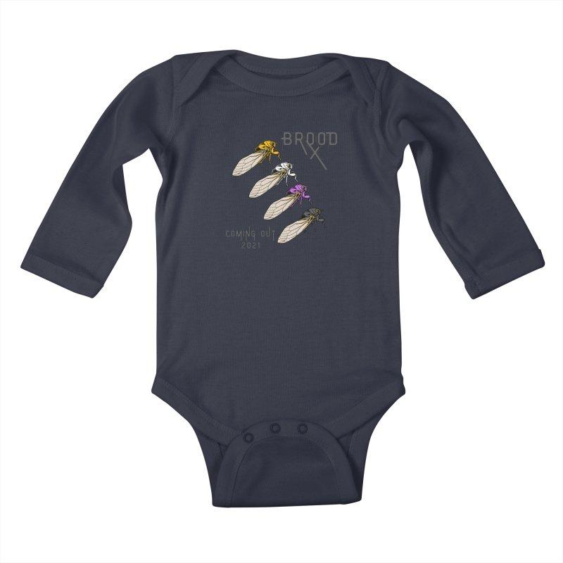 Non-Binary Cicadas Kids Baby Longsleeve Bodysuit by avian30