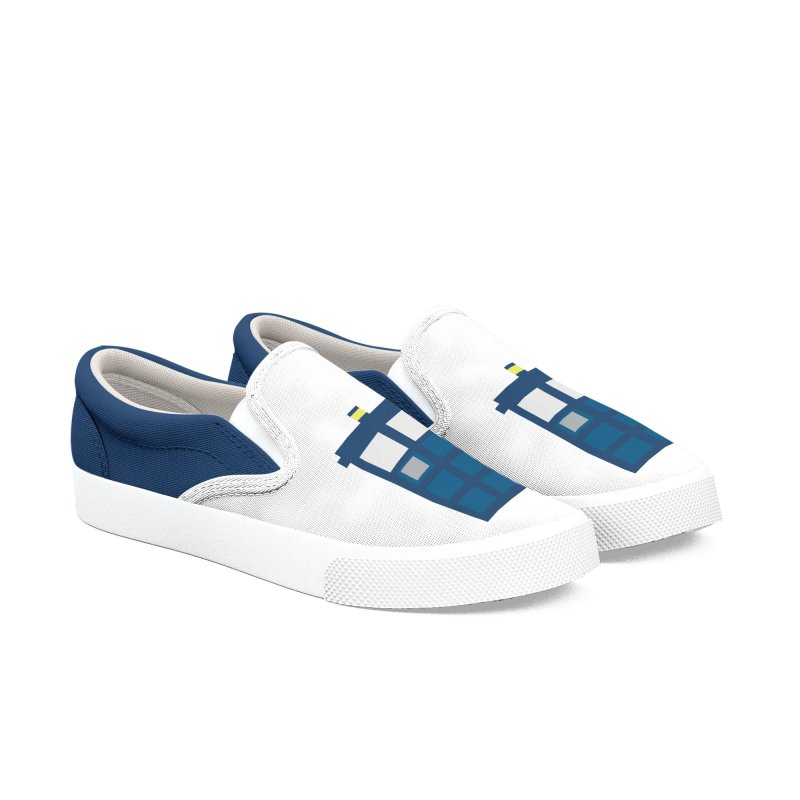 Blue Box Men's Slip-On Shoes by AvijoDesign's Artist Shop