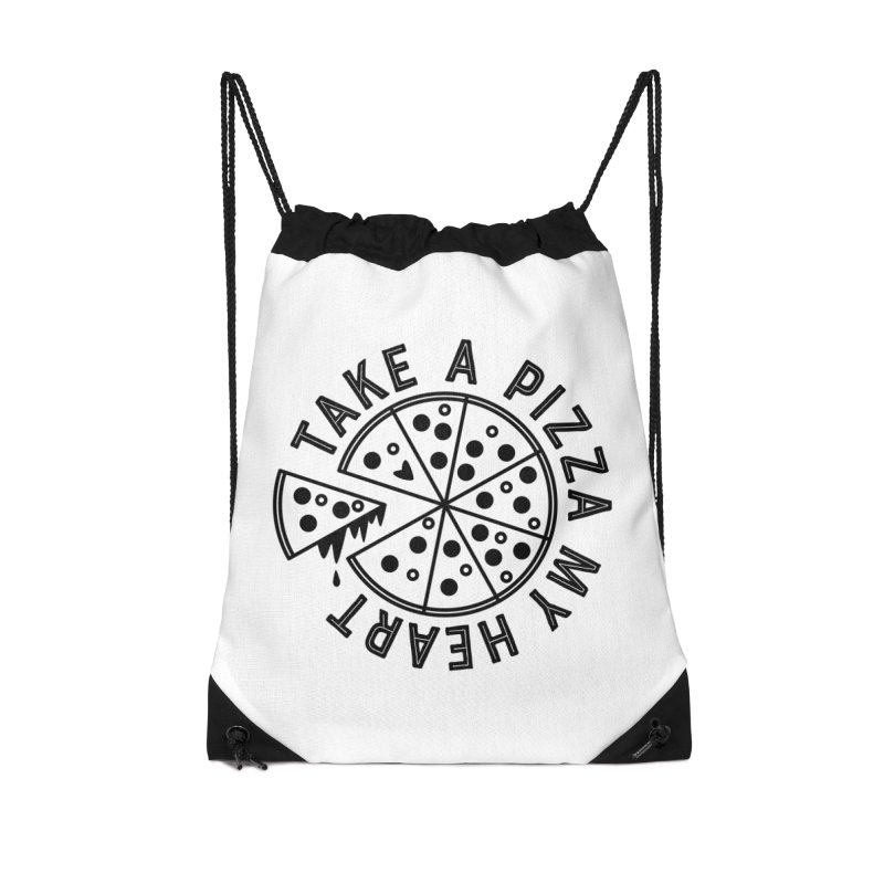 Pizza My Heart - Black Accessories Drawstring Bag Bag by Avo G'day!