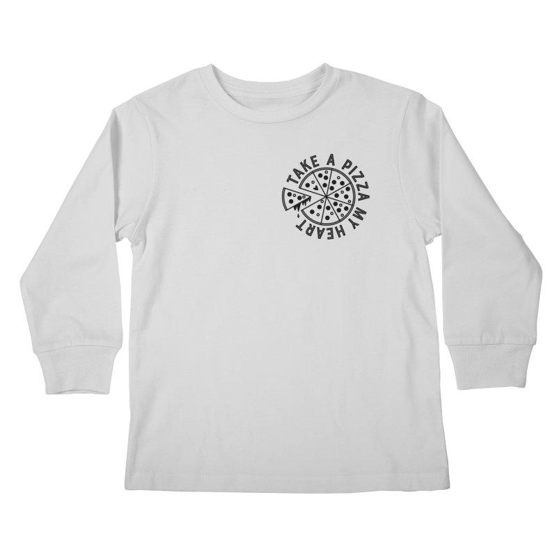 Pizza My Heart - Black Kids Longsleeve T-Shirt by Avo G'day!