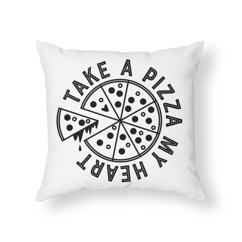 Pizza My Heart - Black Home Throw Pillow by Avo G'day!