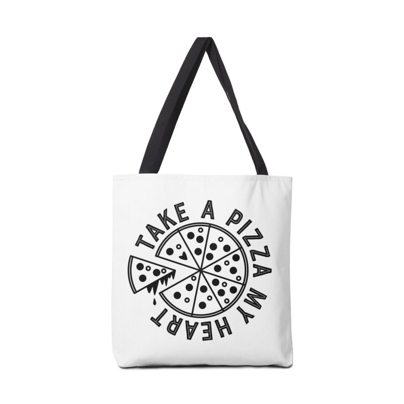 Pizza My Heart - Black Accessories Tote Bag Bag by Avo G'day!