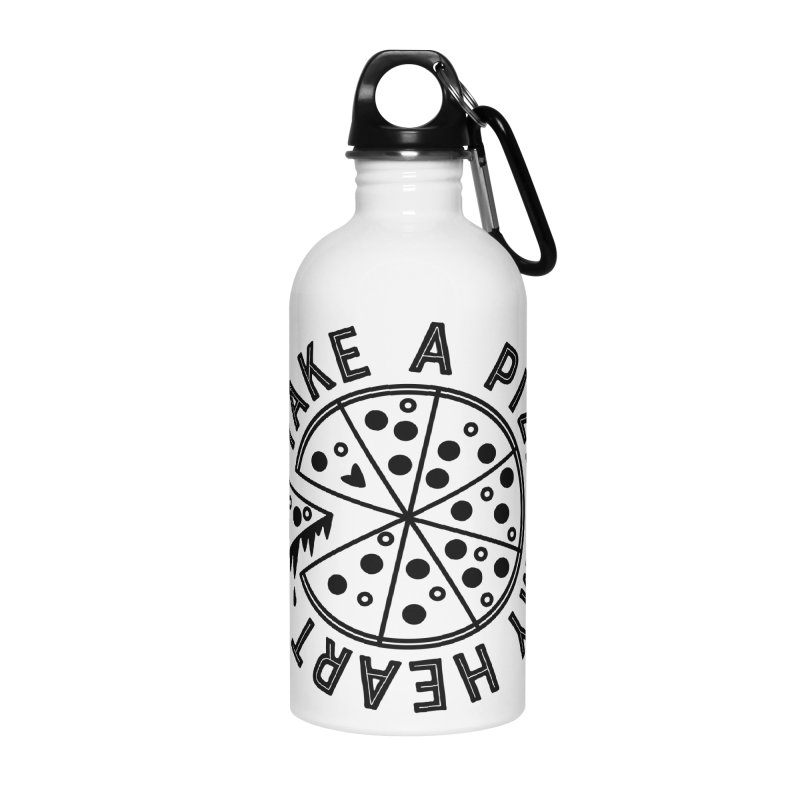 Pizza My Heart - Black Accessories Water Bottle by Avo G'day!