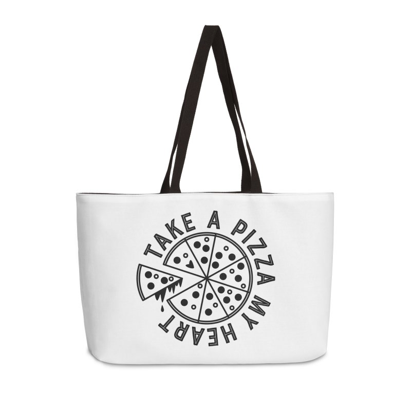 Pizza My Heart - Black Accessories Weekender Bag Bag by Avo G'day!