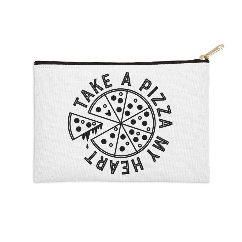 Pizza My Heart - Black Accessories Zip Pouch by Avo G'day!