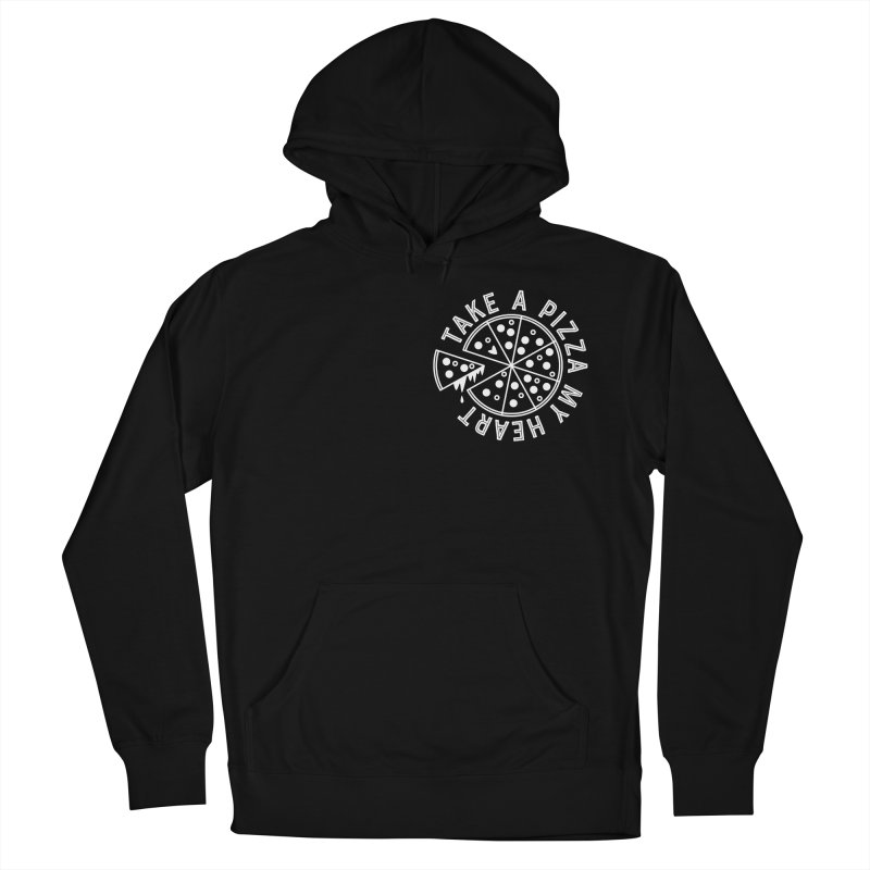 Pizza My Heart - White in Men's French Terry Pullover Hoody Black by Avo G'day!