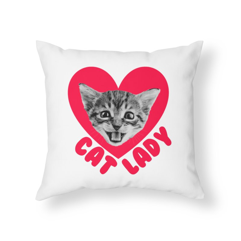 Cat Lady Home Throw Pillow by Victory Screech Labs