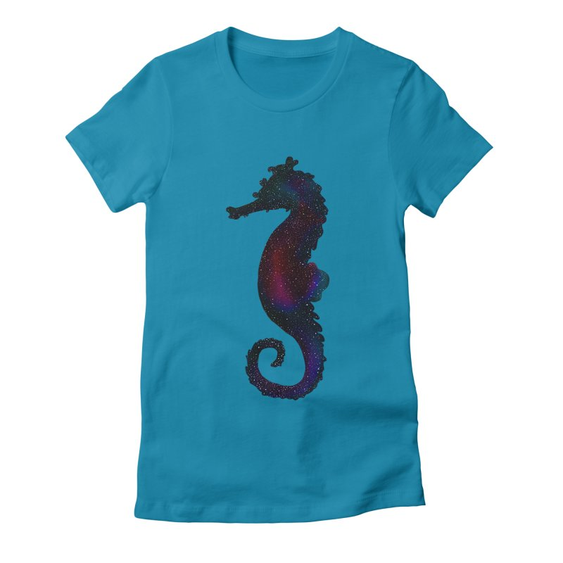 A Seahorse Universe Women's Fitted T-Shirt by Awezum Art Shop