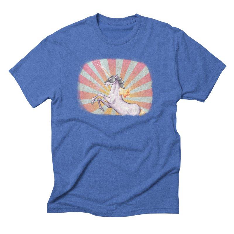 Battlecorn in Men's Triblend T-Shirt Blue Triblend by Awkward Affections's Artist Shop